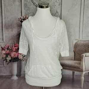 Splendid White Pullover Burnout Hoodie Size Large